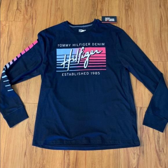 Tommy Hilfiger Denim Navy Logo Long-sleeve Tee
